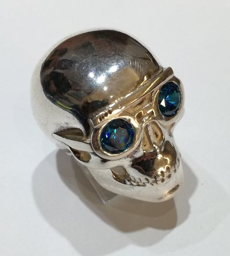 Skull with blue cubic zirconia