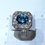 White gold ring with London blue topaz and diamonds cod.a349